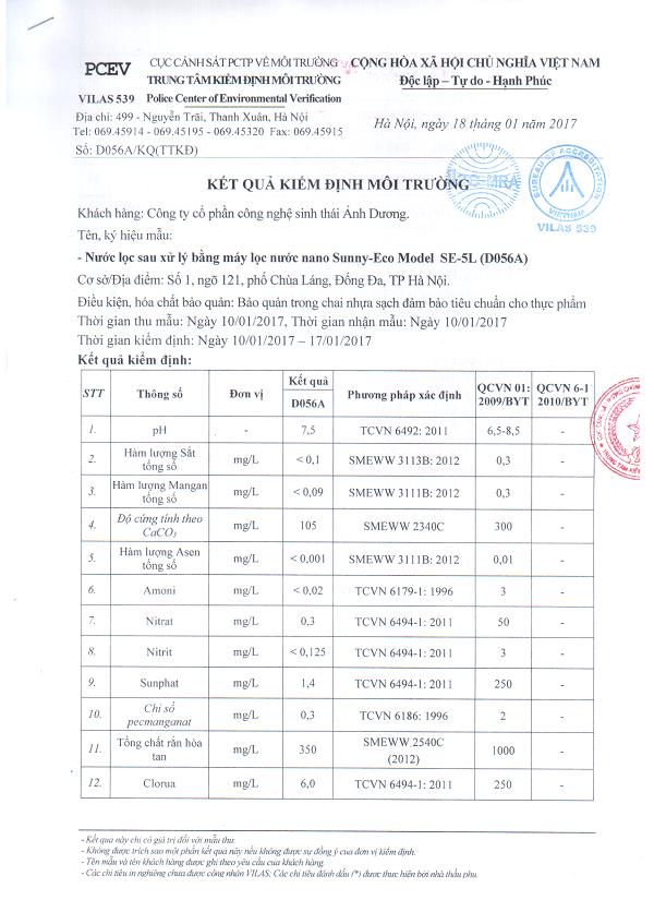 Kết quả chất lượng nước sau lọc của máy lọc nước gia đình Nano Sunny-Eco SE-5L của Nga 1