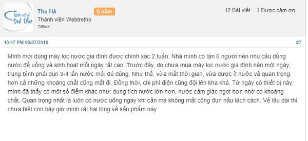 Chia sẻ từ chị Hà về máy lọc nước gia đình